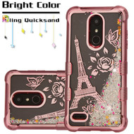 Electroplating Tuff Lite Quicksand Case for LG K30 - Eiffel Tower Rose Gold