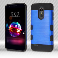Military Grade Certified TUFF Trooper Dual Layer Hybrid Armor Case for LG K30 - Blue