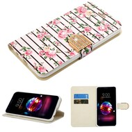 *Sale* Luxury Bling Portfolio Leather Wallet Case for LG K30 - Pink Fresh Roses