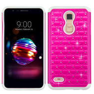 TotalDefense Diamond Hybrid Case for LG K30 - Hot Pink White