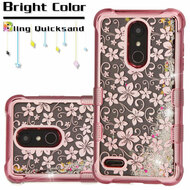 Electroplating Tuff Lite Quicksand Case for LG K30 - Hibiscus Rose Gold