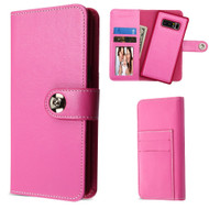 2-IN-1 Premium Leather Wallet Folio with Detachable Magnetic Case for Samsung Galaxy Note 8 - Hot Pink