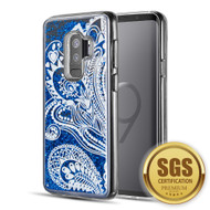 Quicksand Glitter Transparent Case for Samsung Galaxy S9 Plus - Persian Paisley Blue