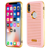 Dot Grid Dual Layer Hybrid Case for iPhone XS / X - Pink
