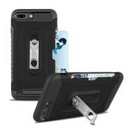 The Mechanic Hybrid Armor Case with Card Holder and Metal Loop Kickstand for iPhone 8 Plus / 7 Plus - Black