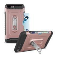 The Mechanic Hybrid Armor Case with Card Holder and Metal Loop Kickstand for iPhone 8 Plus / 7 Plus - Rose Gold