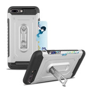 The Mechanic Hybrid Armor Case with Card Holder and Metal Loop Kickstand for iPhone 8 Plus / 7 Plus - Silver