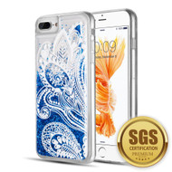 Quicksand Glitter Transparent Case for iPhone 8 Plus / 7 Plus / 6S Plus / 6 Plus - Persian Paisley Blue
