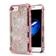 Tuff Lite Quicksand Glitter Electroplating Transparent Case for iPhone 8 / 7 / 6S / 6 - Butterfly Spring Flower