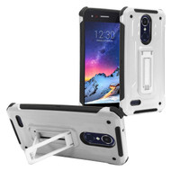 *Sale* Rugged Hybrid Kickstand Case for LG Aristo 2 / Fortune 2 / K8 (2018) / Tribute Dynasty / Zone 4 - Silver