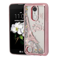 Electroplating Quicksand Glitter Case for LG Aristo 2 / Fortune 2 / K8 (2018) / Tribute Dynasty - Eiffel Tower