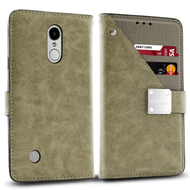 *Sale* Cosmopolitan Leather Canvas Wallet Case for LG Aristo 2 / Fortune 2 / K8 (2018) / Tribute Dynasty / Zone 4 - Grey