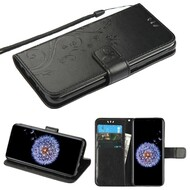 Embossed Butterfly Flower Leather-Style Wallet Stand Case for Samsung Galaxy S9 - Black