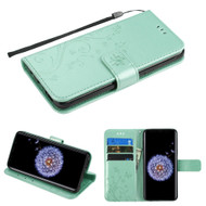 *Sale* Embossed Butterfly Flower Leather-Style Wallet Stand Case for Samsung Galaxy S9 Plus - Teal Green