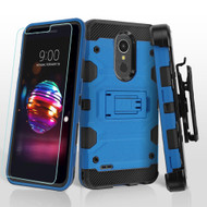 Military Grade Certified Storm Tank Hybrid Case with Holster and Tempered Glass Screen Protector for LG K30 - Blue