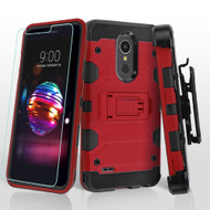 Military Grade Certified Storm Tank Hybrid Case with Holster and Tempered Glass Screen Protector for LG K30 - Red