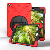 3-IN-1 Hybrid Armor Case with Hand Strap and Rotatable Stand for iPad (2018/2017) - Red