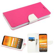 Diary Leather Wallet Case for Motorola Moto E5 Plus - Hot Pink