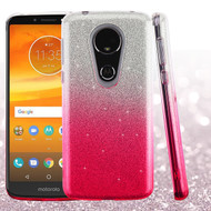 Full Glitter Hybrid Protective Case for Motorola Moto E5 Plus - Gradient Pink