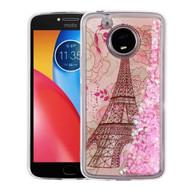 Quicksand Glitter Transparent Case for Motorola Moto E4 Plus - Eiffel Tower