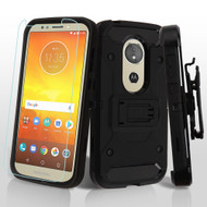 3-IN-1 Kinetic Hybrid Armor Case with Holster and Tempered Glass Protector for Motorola Moto E5 Play / E5 Cruise - Black