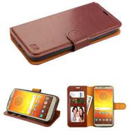 Book-Style Leather Folio Case for Motorola Moto E5 Play / E5 Cruise - Brown