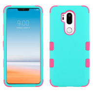 Military Grade Certified TUFF Hybrid Armor Case for LG G7 ThinQ - Teal Green Electric Pink