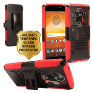 Advanced Armor Hybrid Kickstand Case + Holster + Tempered Glass Screen Protector for Motorola Moto E5 Plus - Red