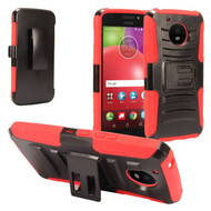 *Sale* Advanced Armor Hybrid Kickstand Case with Holster for Motorola Moto E4 Plus - Red