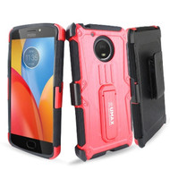 *Sale* Heavy Duty Dual Layer Hybrid Armor Case with Holster for Motorola Moto E4 Plus - Red