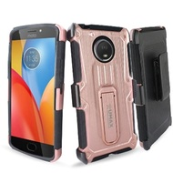 Heavy Duty Dual Layer Hybrid Armor Case with Holster for Motorola Moto E4 Plus - Rose Gold