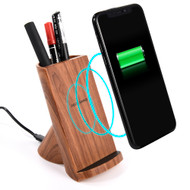 Wood Color Dual Coils Fast Wireless Charger Qi Charging Stand with Integrated Pen Holder - Oak