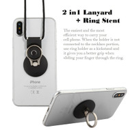 2-IN-1 Smart Loop Universal Smartphone Holder & Stand with Lanyard - Black