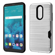 ID Card Slot Hybrid Case for LG Stylo 4 - Silver