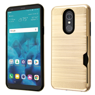 ID Card Slot Hybrid Case for LG Stylo 4 - Gold