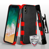 Military Grade Certified TUFF Hybrid Armor Case with Holster for iPhone XS / X - Black Red