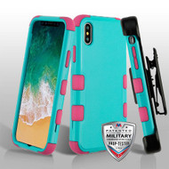 Military Grade Certified TUFF Hybrid Armor Case with Holster for iPhone XS / X - Teal Green Electric Pink