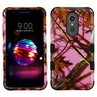 Military Grade Certified TUFF Hybrid Armor Case for LG K30 - Pink Oak Hunting Camouflage