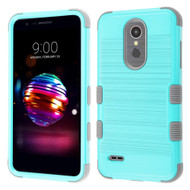 Military Grade Certified Brushed TUFF Hybrid Case for LG K30 - Teal Green Iron Grey