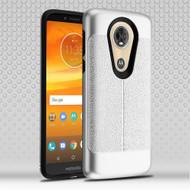 Leather Texture Anti-Shock Hybrid Protection Case for Motorola Moto E5 Plus - Silver