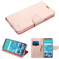Diary Leather Wallet Case for LG Stylo 4 - Rose Gold