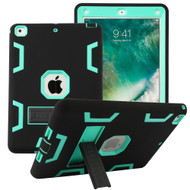 Shock Absorption Heavy Duty Rugged Hybrid Armor Case with Kickstand for iPad (2018/2017) - Black Teal