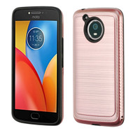 Brushed Multi-Layer Hybrid Armor Case for Motorola Moto E4 Plus- Rose Gold