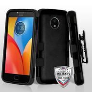 Military Grade Certified TUFF Hybrid Armor Case with Holster for Motorola Moto E4 Plus - Black