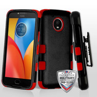 Military Grade Certified TUFF Hybrid Armor Case with Holster for Motorola Moto E4 Plus - Black Red