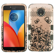 Military Grade Certified TUFF Image Hybrid Armor Case for Motorola Moto E4 Plus - Lace Flowers Rose Gold