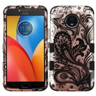 Military Grade Certified TUFF Image Hybrid Armor Case for Motorola Moto E4 Plus - Phoenix Flowers Rose Gold