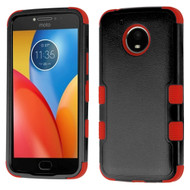 Military Grade Certified TUFF Hybrid Armor Case for Motorola Moto E4 Plus - Black Red