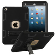 Shock Absorption Heavy Duty Rugged Hybrid Armor Case with Kickstand for iPad Mini 4 - Black