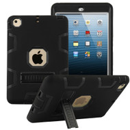 Shock Absorption Heavy Duty Rugged Hybrid Armor Case with Kickstand for iPad Mini 1 / 2 / 3rd Generation - Black